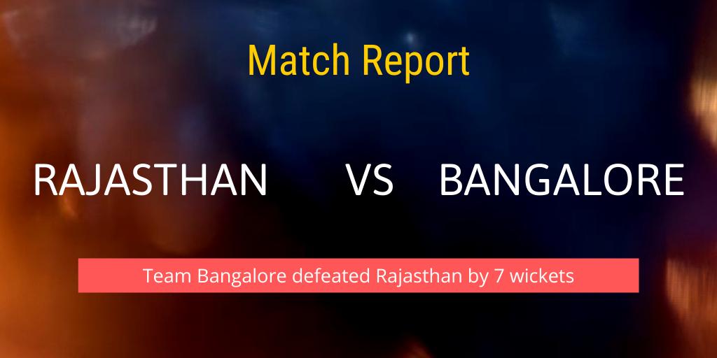 Rajasthan vs Bangalore Match Report